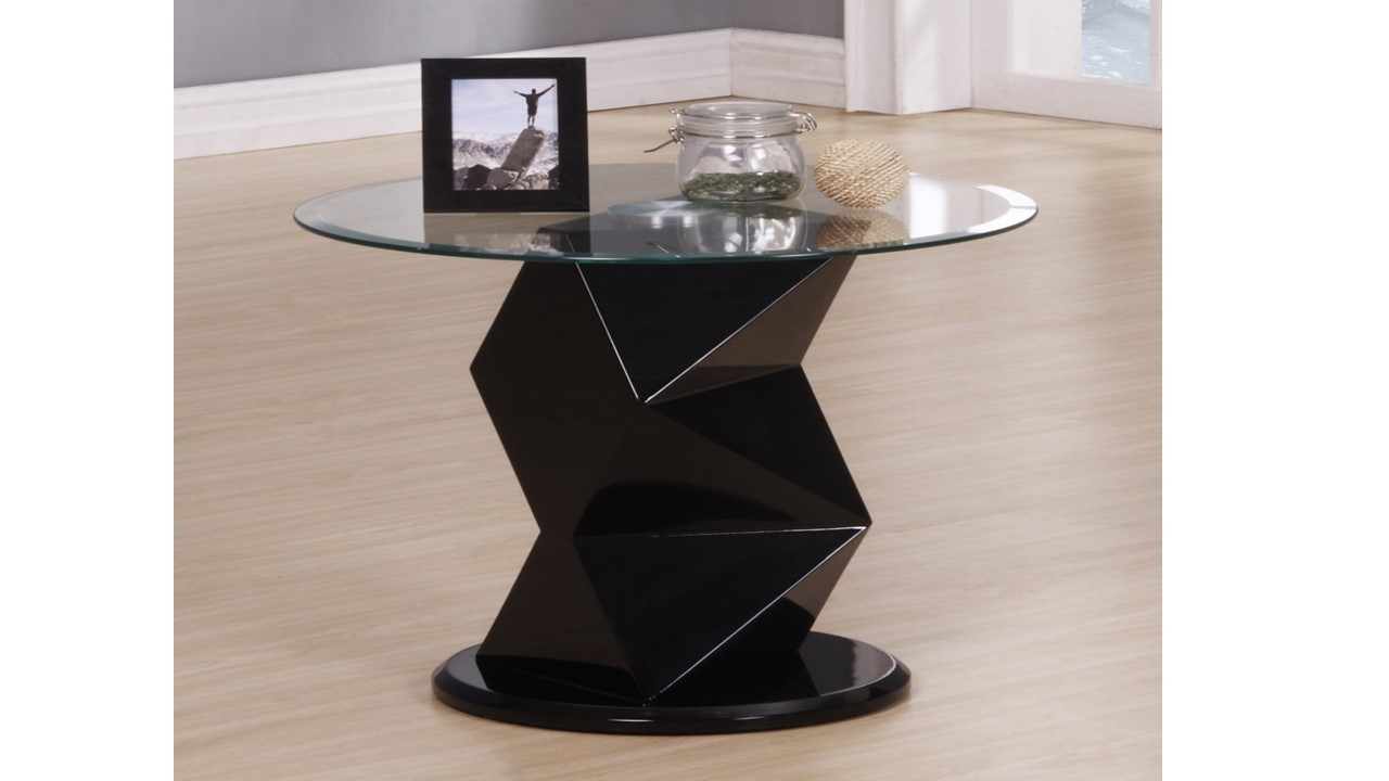 Black High Gloss Glass Side Lamp Table