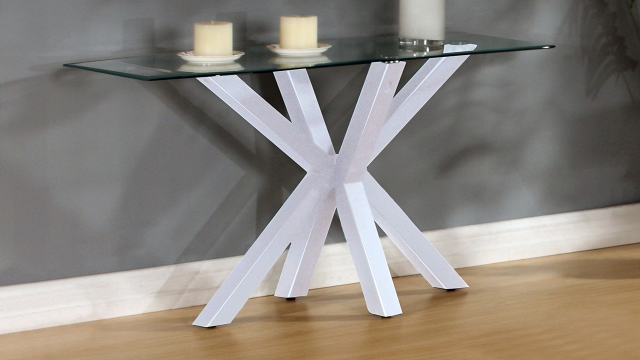 White high gloss clear glass coffee side console table for White and glass console table