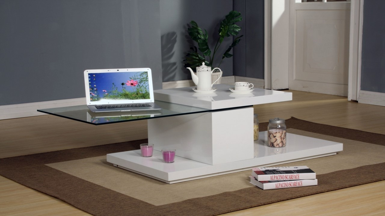 Rotating White High Gloss Glass Coffee Table Homegenies