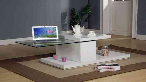 Rotating White High Gloss Glass Coffee Table