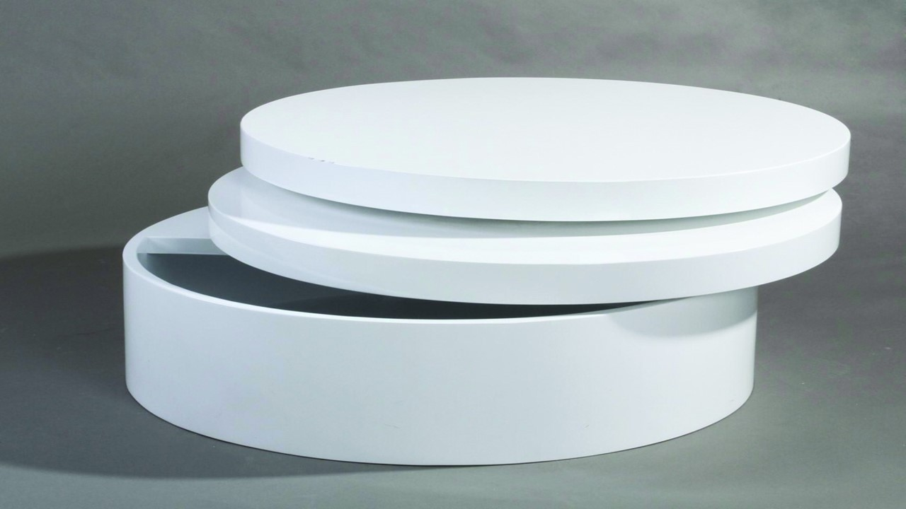 Round Swivel High Gloss White Coffee Table Homegenies