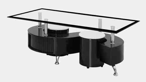 S Shaped Glass Black High Gloss Coffee Table