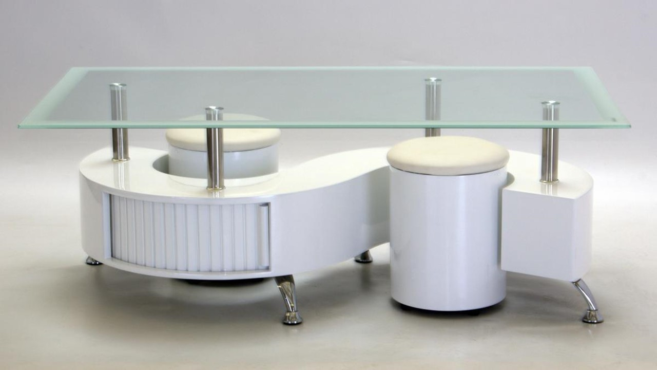 S shaped glass white high gloss coffee table homegenies - How high is a coffee table ...