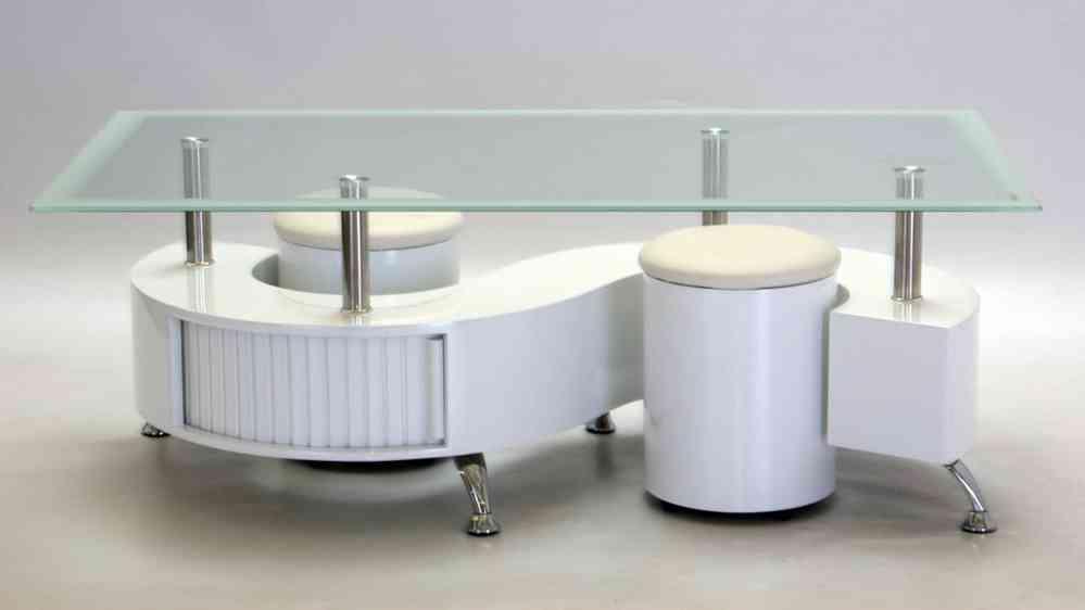 S Shaped Glass White High Gloss Coffee Table
