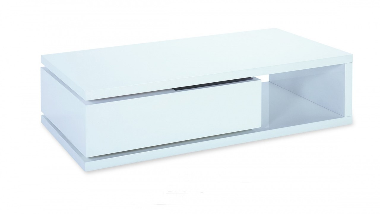 White High Gloss Coffee Table With Swivel Drawer Homegenies