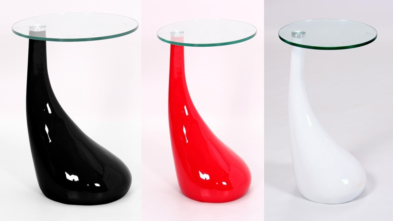 White Red Black Glass High Gloss Side Table Homegenies