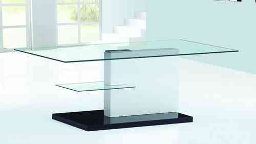 White and Black High Gloss Glass Coffee Table