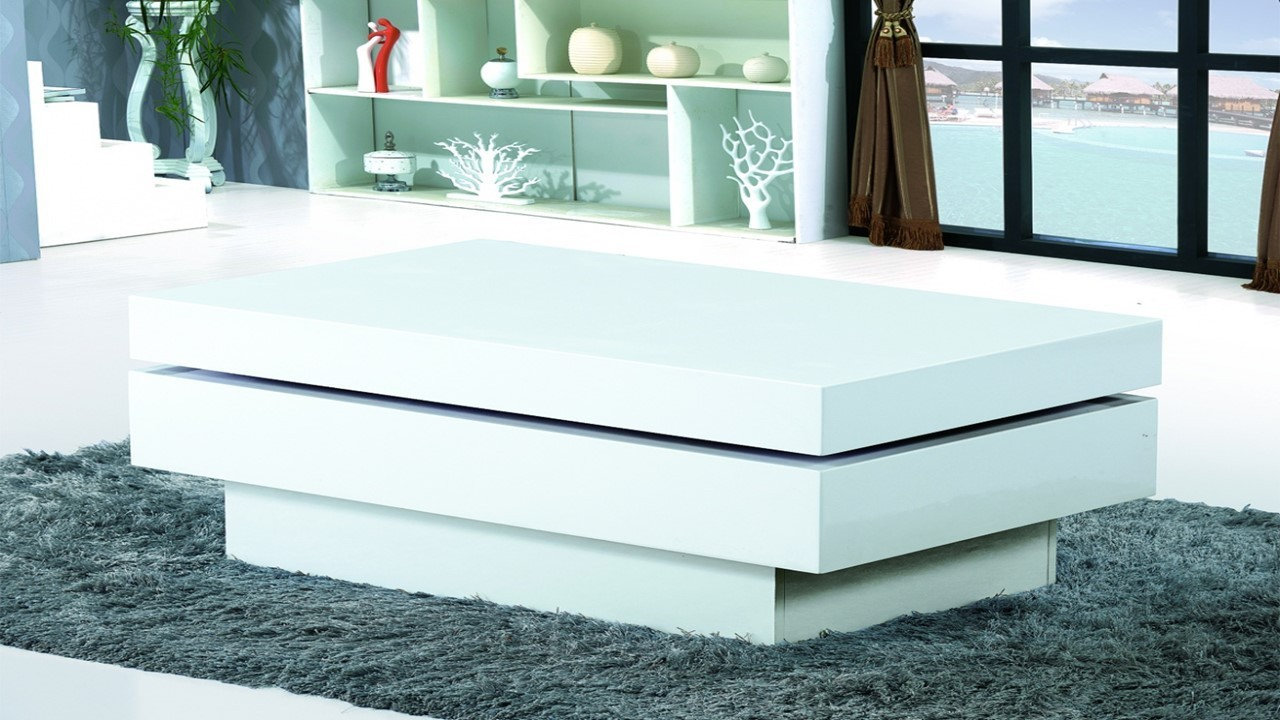 modern white gloss coffee table - homegenies