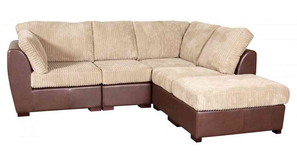 Cord Fabric Faux Leather Corner Sofa
