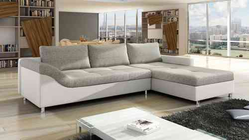 White Faux Leather and Grey Fabric Corner Sofa