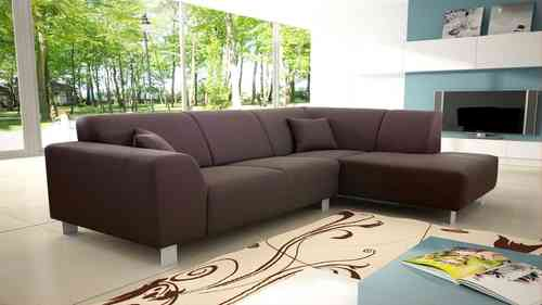 Modern Brown Fabric Corner Sofa