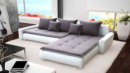 Large White Faux Leather & Grey Fabric Corner Sofa
