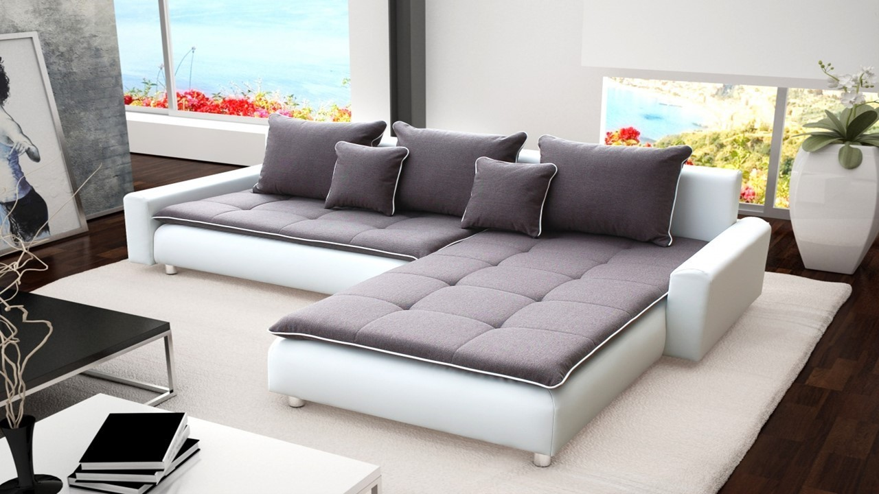 Large White Faux Leather U0026 Grey Fabric Corner Sofa ...