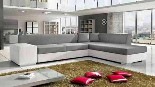 Faux Leather and Fabric Corner Sofa in White & Grey