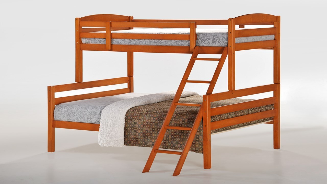 Single top double bottom wooden bunk bed homegenies for Bunk bed with double on bottom