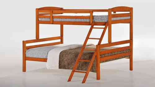 Single top Double Bottom Wooden Bunk Bed