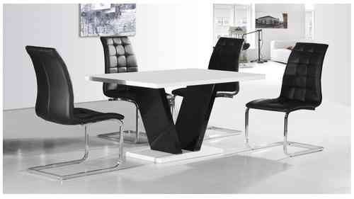 White & Black High Gloss Dining Table and 6 Chairs set