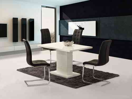 White high gloss dining set and 6 Black Chairs