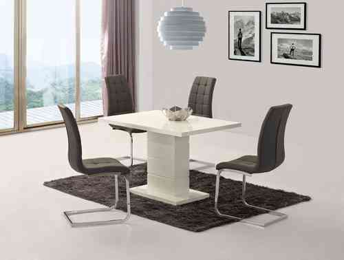 White high gloss dining set with 6 grey chairs