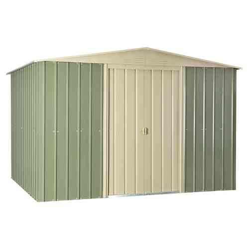 Metal Garden Shed 10 x 12ft in mist green and Cream