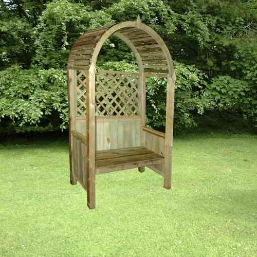 Curved Roof Wooden Garden Arbour Bench