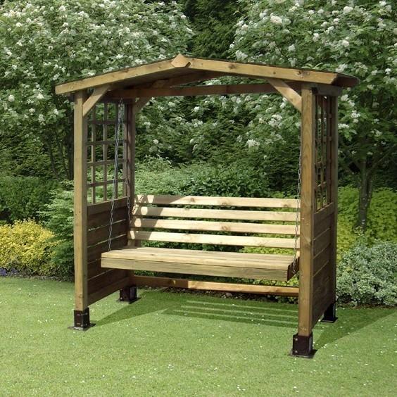 Wooden Garden Swing Bench Arbour Homegenies