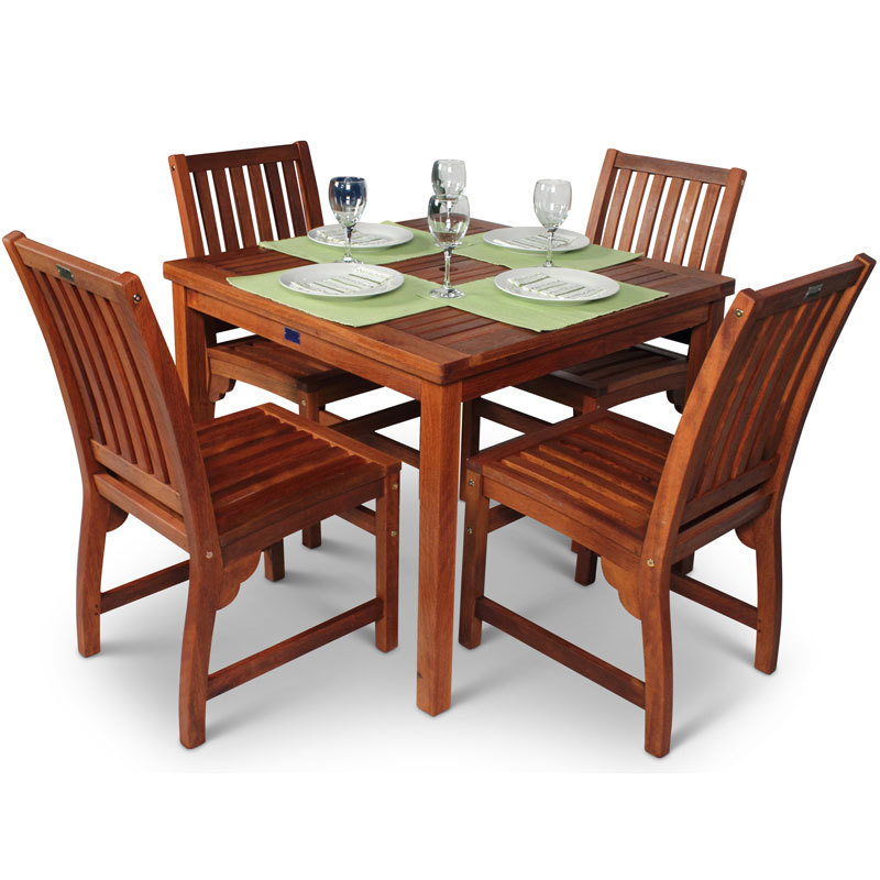 Garden Table And Chairs Set Of 4: Square Hardwood Garden Table And 4 Chairs