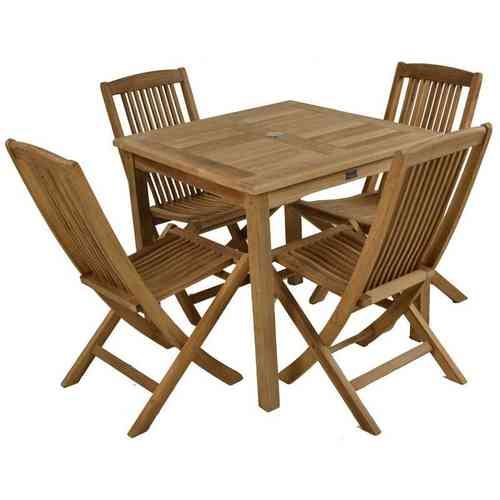 Teak 4 Seater Garden Table and Chair Set