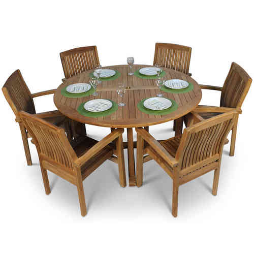Round Teak Garden Table and 6 Chairs
