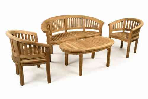 Teak Garden Bench Set with Coffee Table, Armchairs
