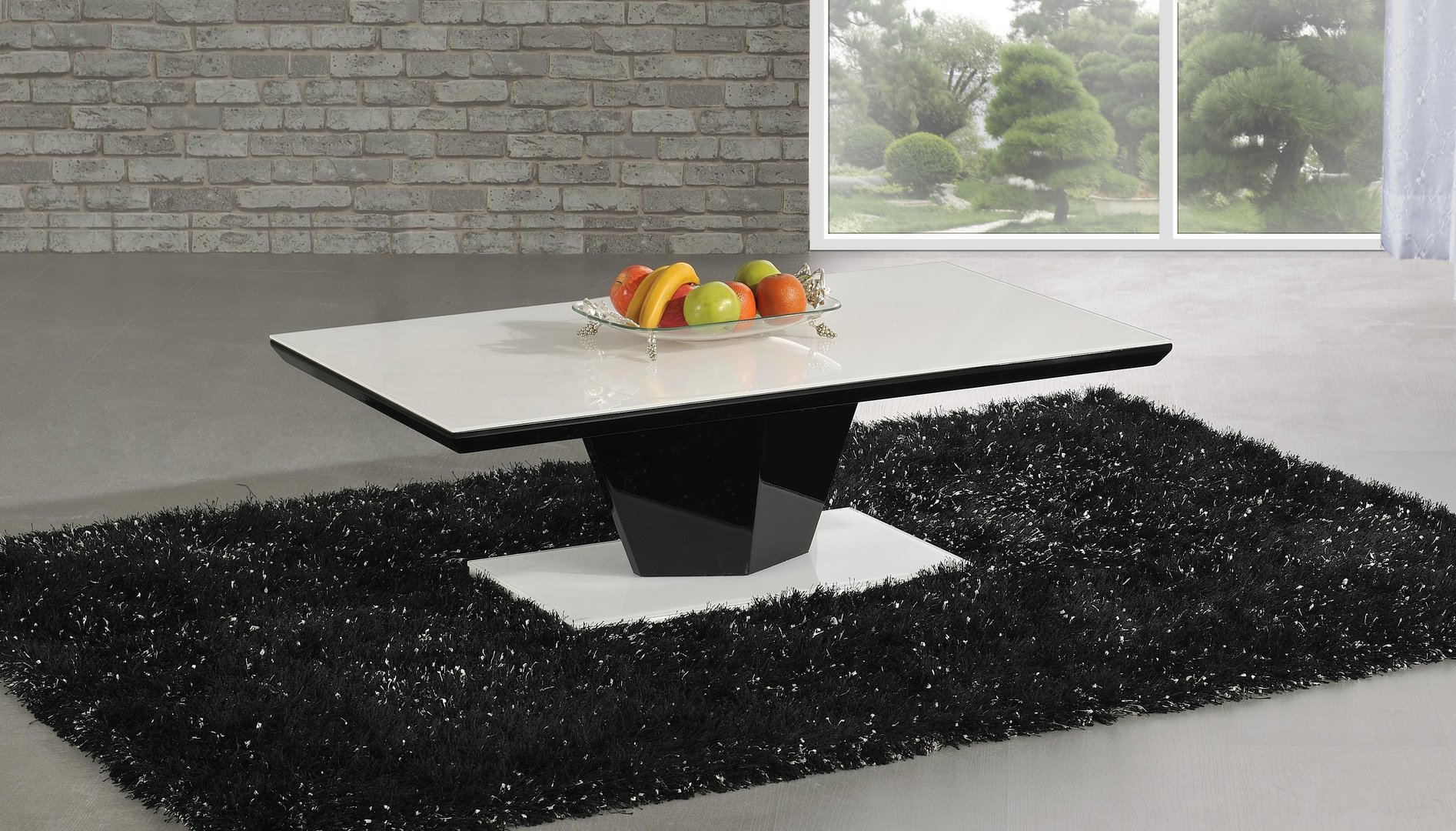 Modern white glass black high gloss coffee table homegenies for Black and white glass coffee table