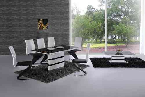 Black Glass High Gloss Small Extending Dining Table and 6 Chairs Set
