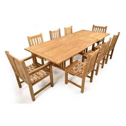 Teak Garden Extending Table and 8 chairs Set