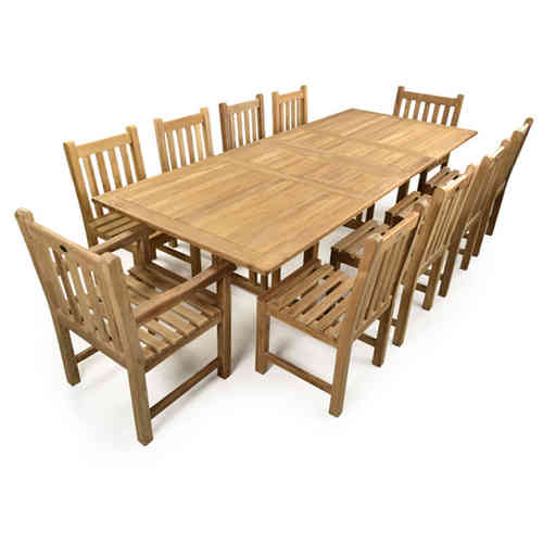 Teak Garden Extending Table and 10 chairs Set