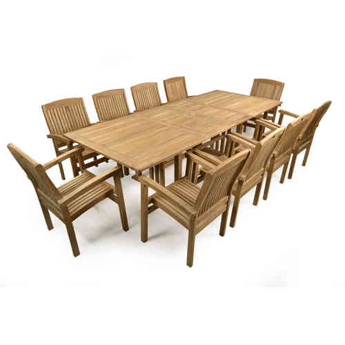 Teak Garden Extending Table and 10 chairs Patio Set