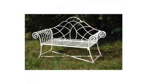Classic Cream Metal Garden Bench