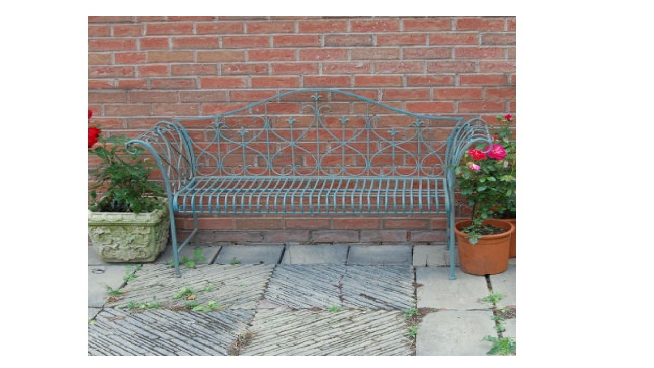 Picture of: Vintage Blue Metal Garden Bench Homegenies