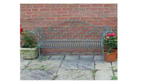 Vintage Blue Metal Garden Bench