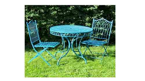 Blue Metal Garden Table and 2 Chairs Bistro Set