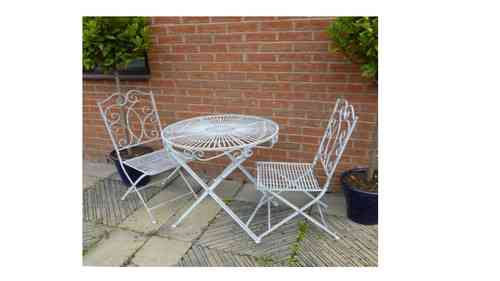 Antique Grey Vintage Garden Bistro Table and 2 Chairs Set