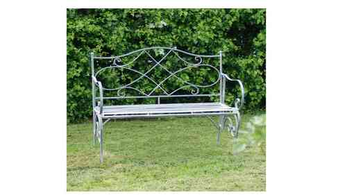 Vintage Grey Metal Garden Bench
