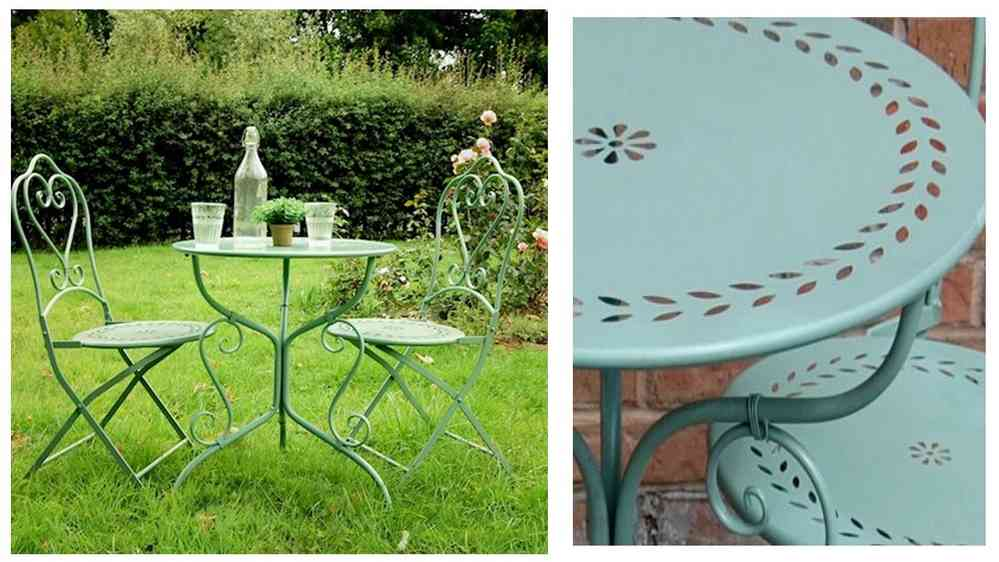 Marvelous Pale Green Metal Garden Table And Chairs Bistro Set
