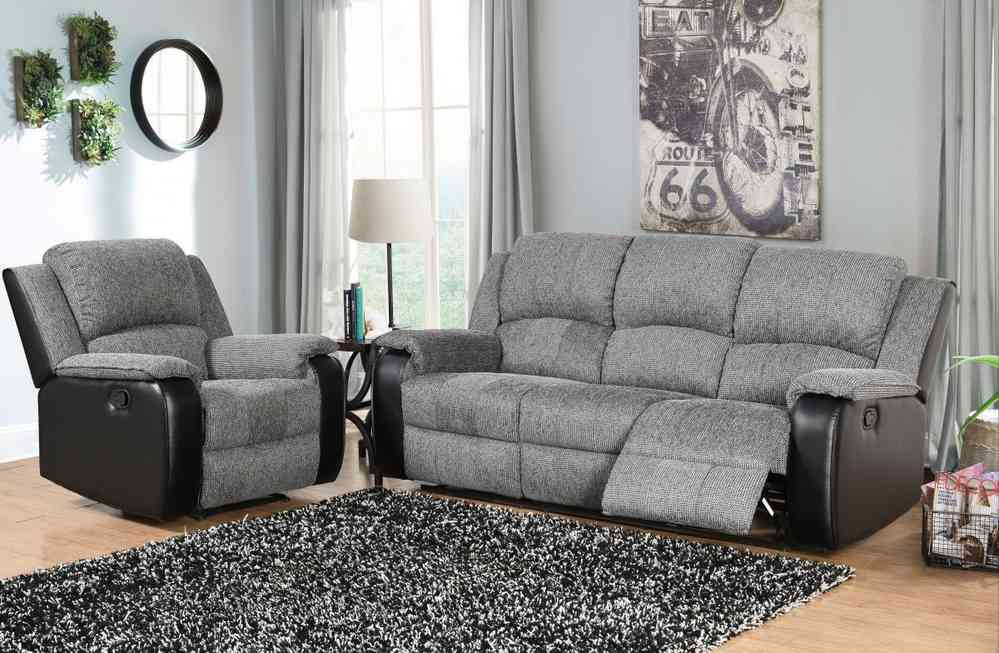 Grey And Black Fabric And Faux Leather Sofa Set Homegenies