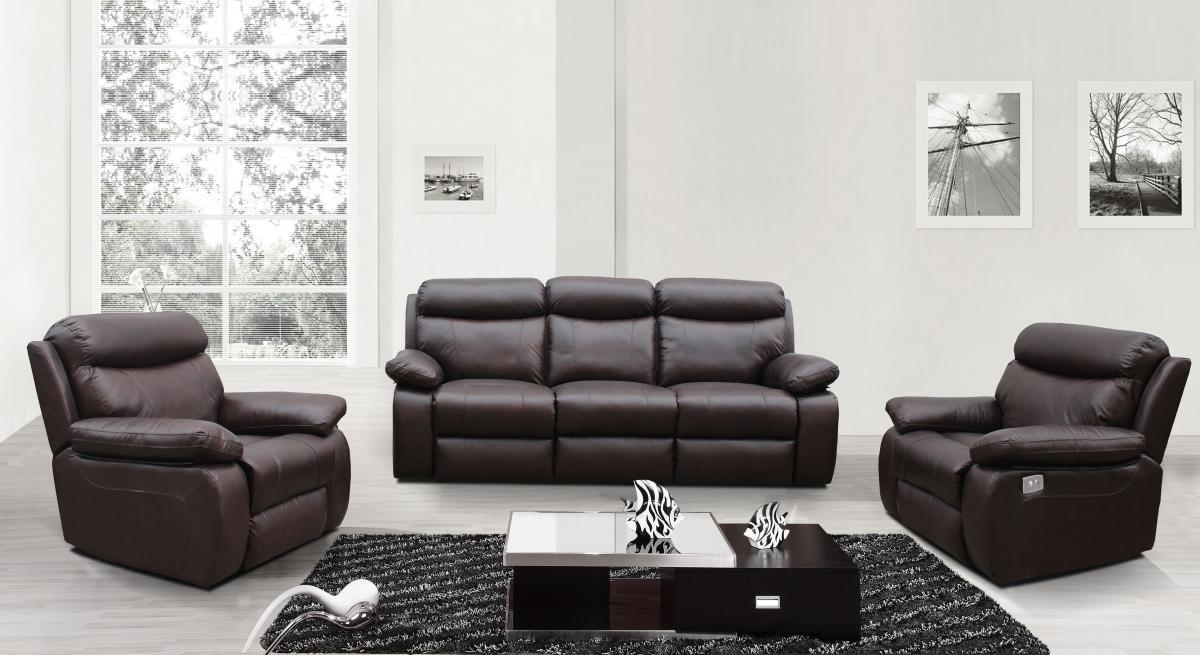 Electric Recliner Sofa Set in Chocolate Brown