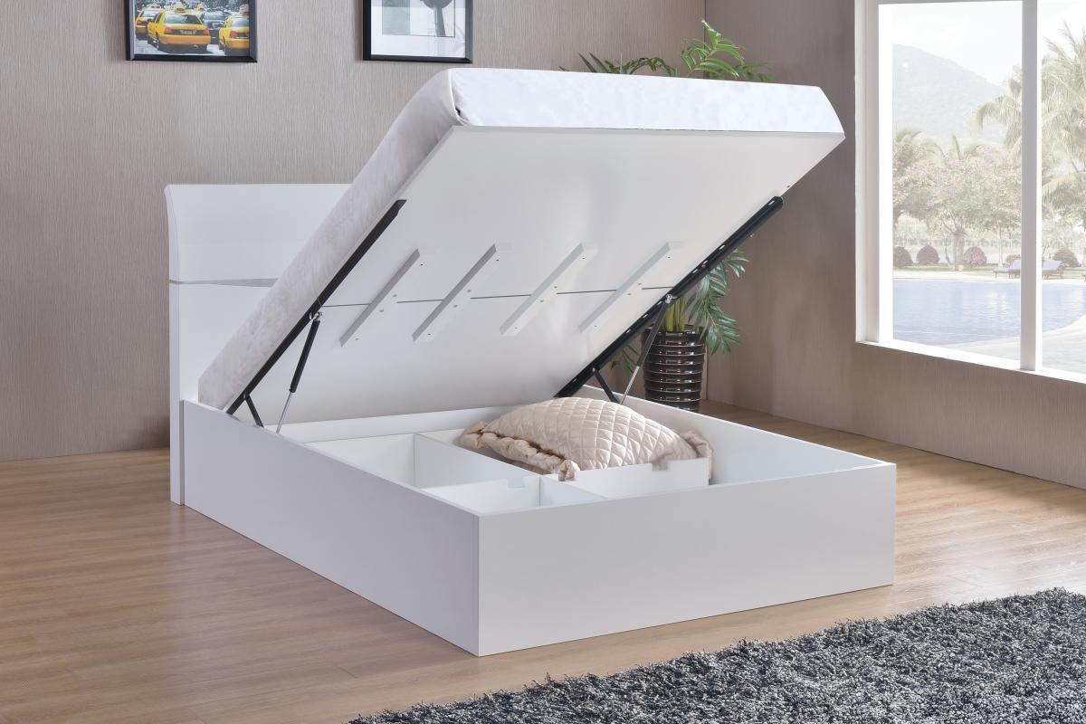 White High Gloss King Size Bed Homegenies