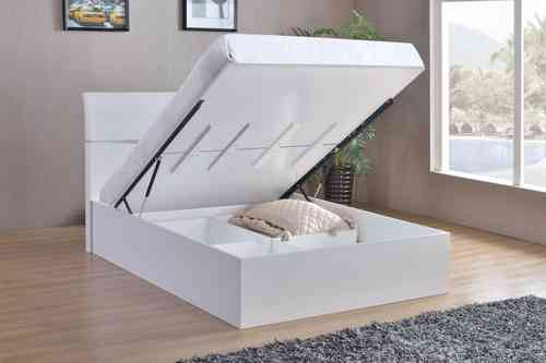 White High Gloss King Size Bed