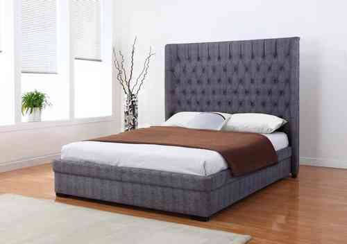Dark Grey Fabric Double Bed