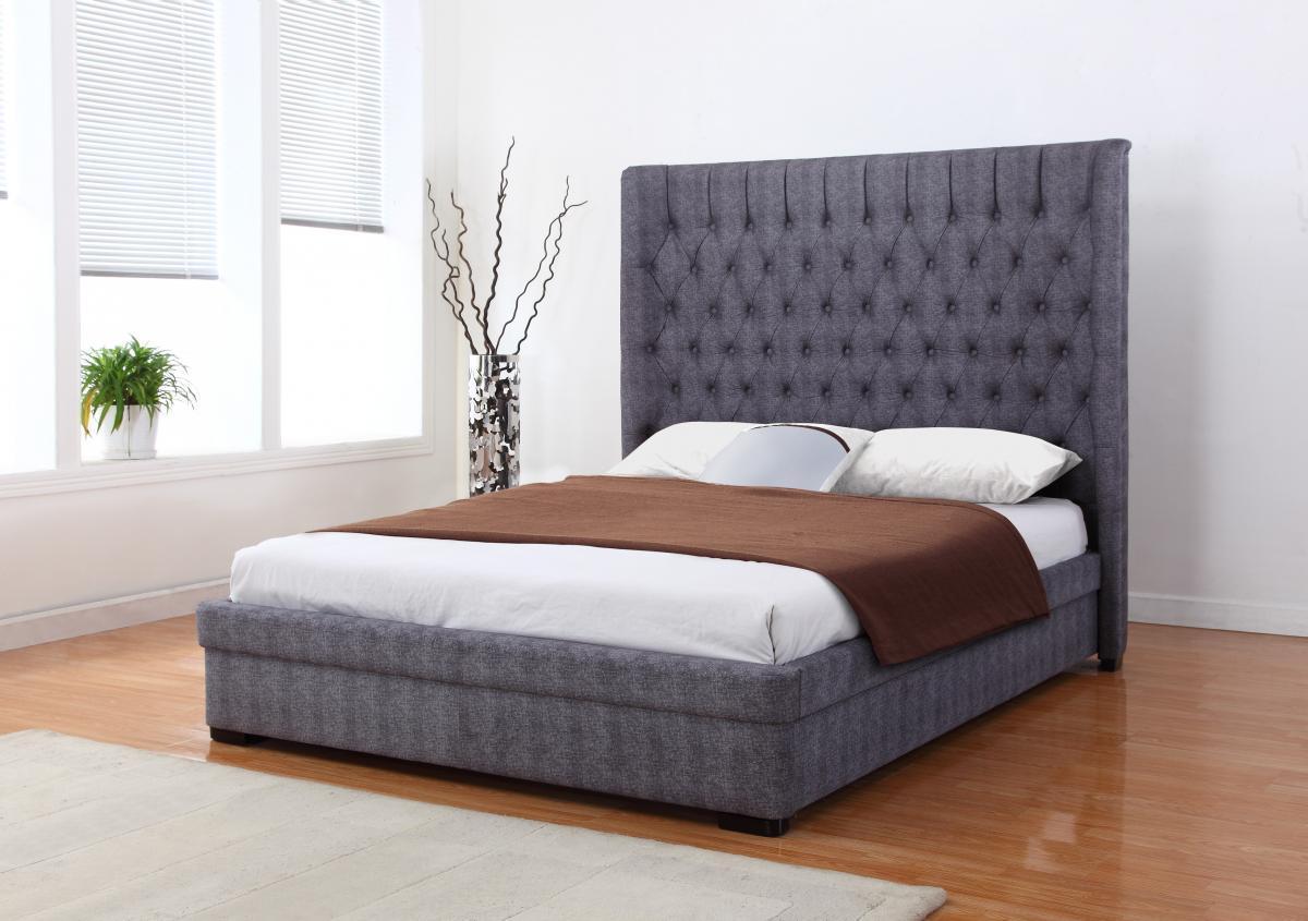 Dark grey fabric king size bed homegeneis King size mattress