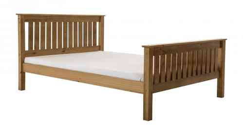 Single, Double, Kingsize Pine Bed with high foot