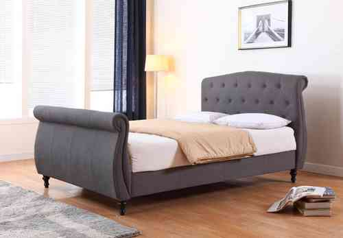 Traditional Dark Grey Fabric Bed Double or Kingsize